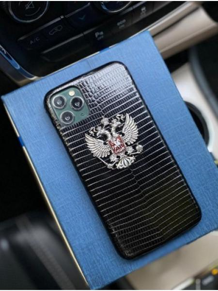 Кожаный чёрный чехол с гербом России Mobcase 1301