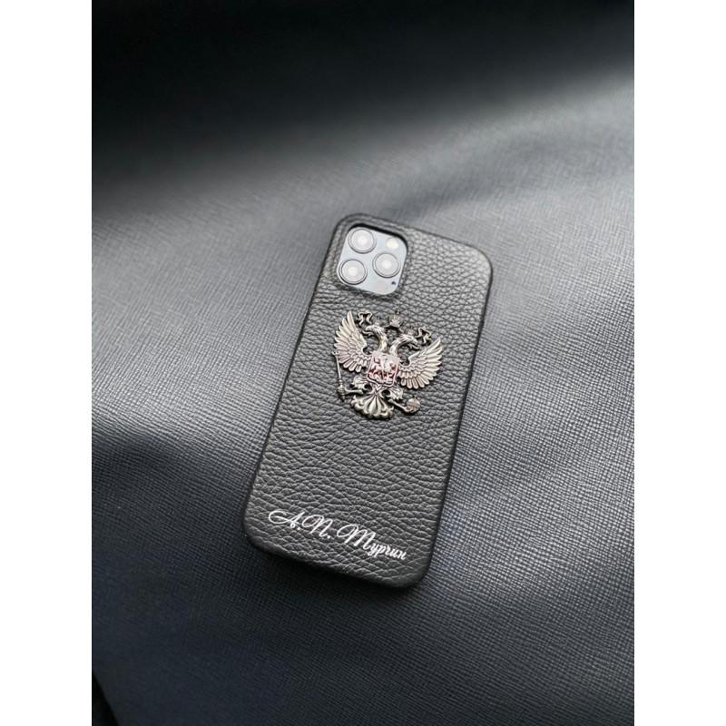 Кожаный чёрный чехол с именем и гербом России Mobcase 1396