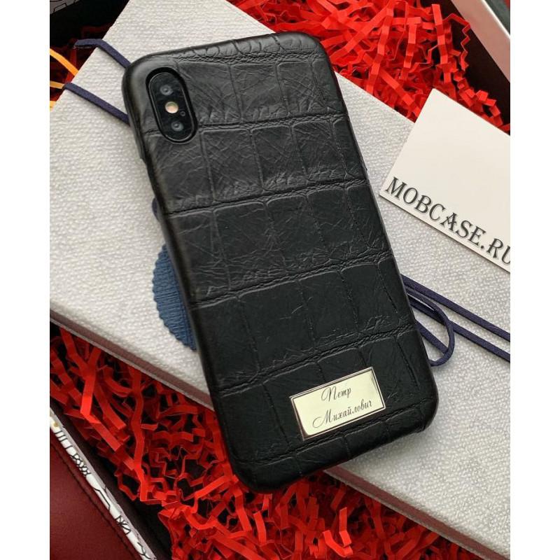 Кожаный, чёрный чехол с именной, металлической табличкой Mobcase 821 для iPhone