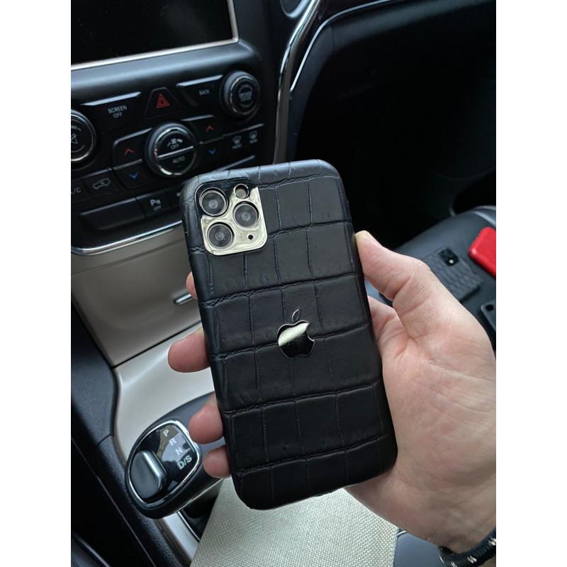 Кожаный, чёрный чехол с логотипом Apple, Mobcase 1044