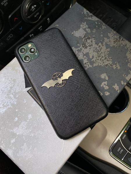 Кожаный, чёрный чехол с логотипом Mobcase 1154