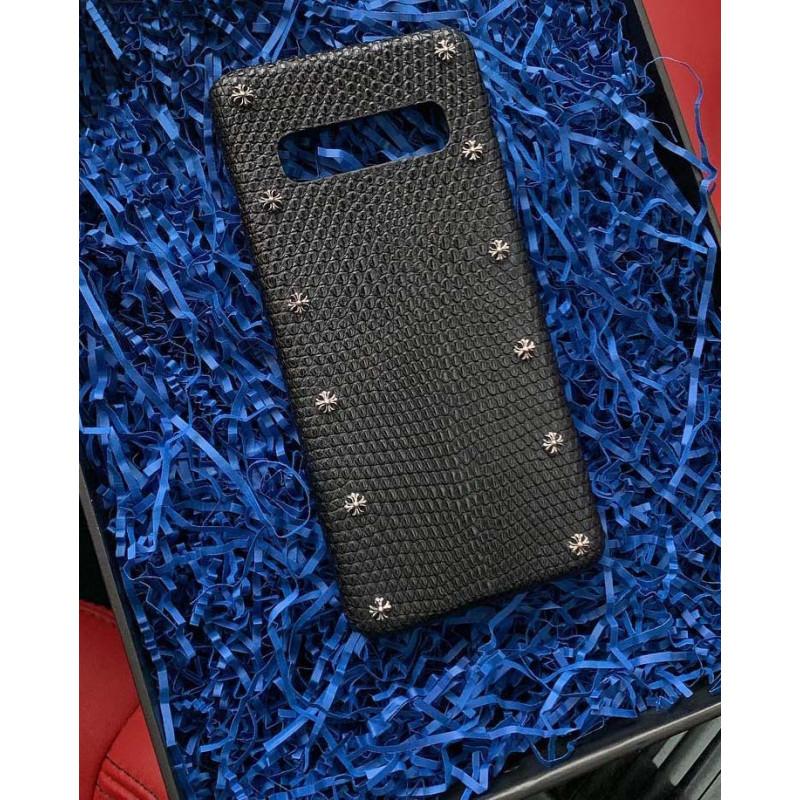 Кожаный, чёрный чехол с серебряными болтами, Mobcase 850 для iPhone, Samsung