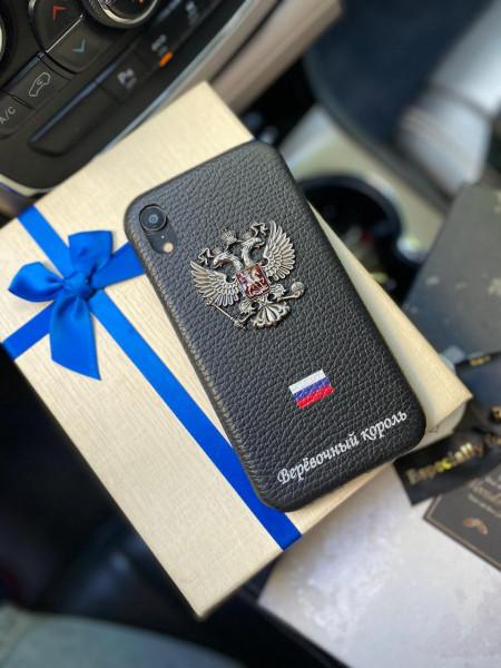 Кожаный, чёрный, именной чехол с гербом России Mobcase 1156