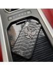 Кожаный, чёрный, именной чехол с металлическим гербом России Mobcase 824 для iPhone