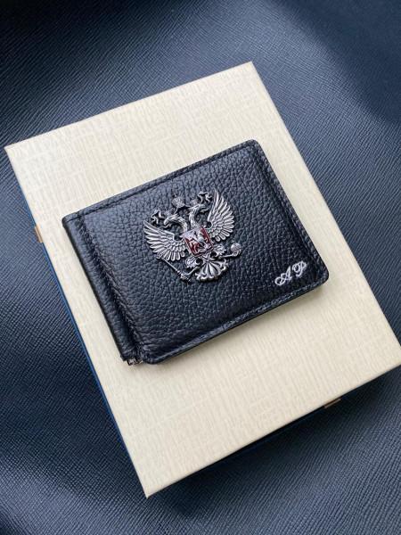 Кожаный чёрный зажим для денег с гербом России Mobcase 1308