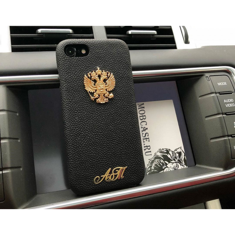 Кожаный, именной чехол из чёрной, телячье кожи с выделкой Caviar Mobcase 806 для iPhone