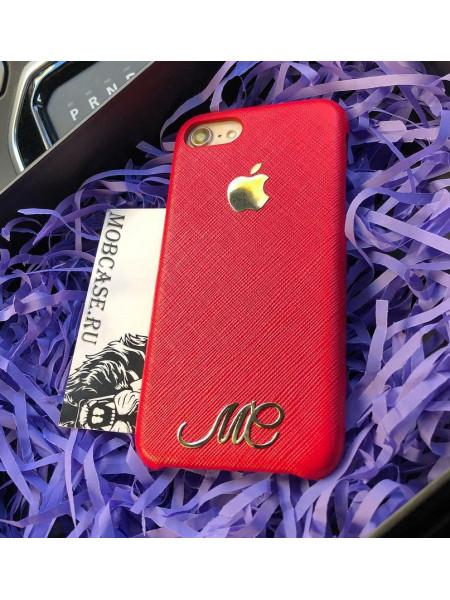 Кожаный, именной чехол из красной кожи с логотипом Apple Mobcase 818 для iPhone 7, 8, 7 Plus, 8 Plus, X, XS, XSMAX, XR