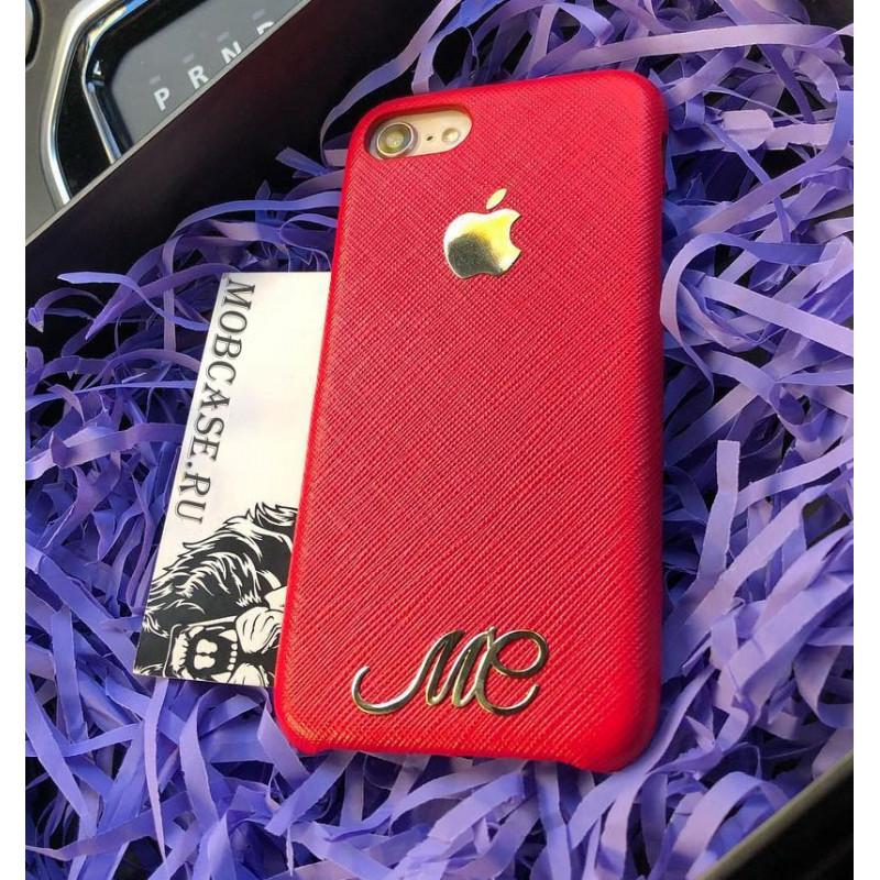 Кожаный, именной чехол из красной кожи с логотипом Apple Mobcase 818 для iPhone