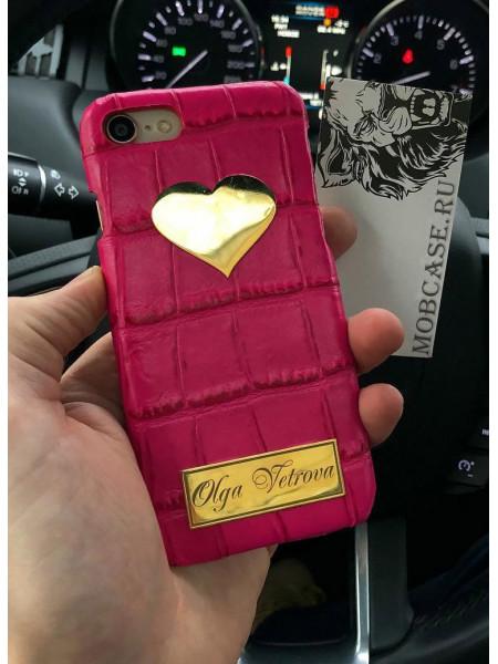 Кожаный именной чехол, розовый золотым Сердцем,  Mobcase 705 для iPhone
