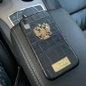 Кожаный, именной чехол с бронзовым гербом России, Mobcase 960
