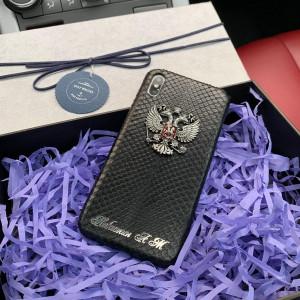 Кожаный, именной чехол с металлическим гербом России, Mobcase 724 для iPhone 7, 8, 7 Plus, 8 Plus, X, XS, XSMAX, XR