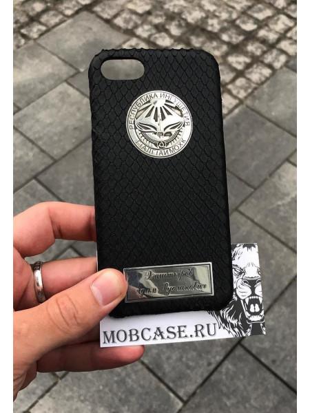 Кожаный, именной чехол с серебряным гербом Ингушетии Mobcase 835