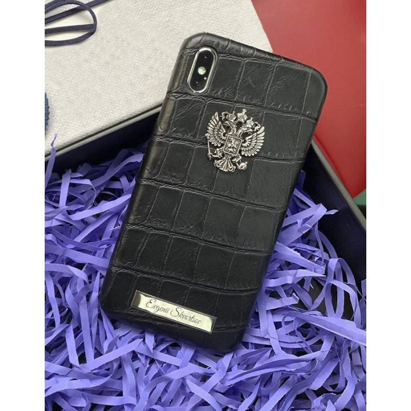 Кожаный, именной чехол с серебряным гербом России, Mobcase 882 для iPhone XS MAX
