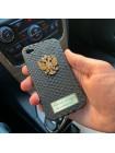 Кожаный, именной чехол с золотым гербом России, Mobcase 997 для iPhone 4 4s