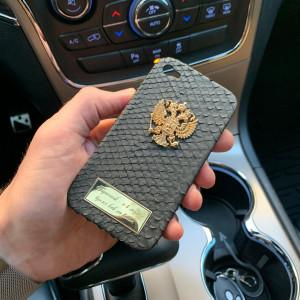 Кожаный, именной чехол с золотым гербом России, Mobcase 997 для iPhone 4|4s