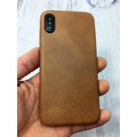 Кожаный, коричневый чехол из износостойкой эко кожи Mobcase 833 для iPhone X
