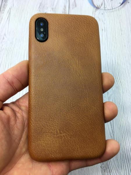 Кожаный, коричневый чехол из износостойкой эко кожи Mobcase 834 для iPhone XS