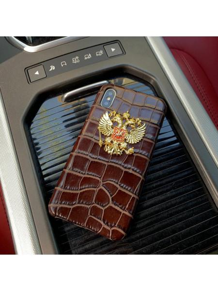 Кожаный, коричневый чехол золотым гербом России Mobcase 844