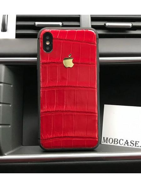 Кожаный, красный чехол из кожи крокодила с логотипом Apple Mobcase 819 для iPhone 7, 8, 7 Plus, 8 Plus, X, XS, XSMAX, XR