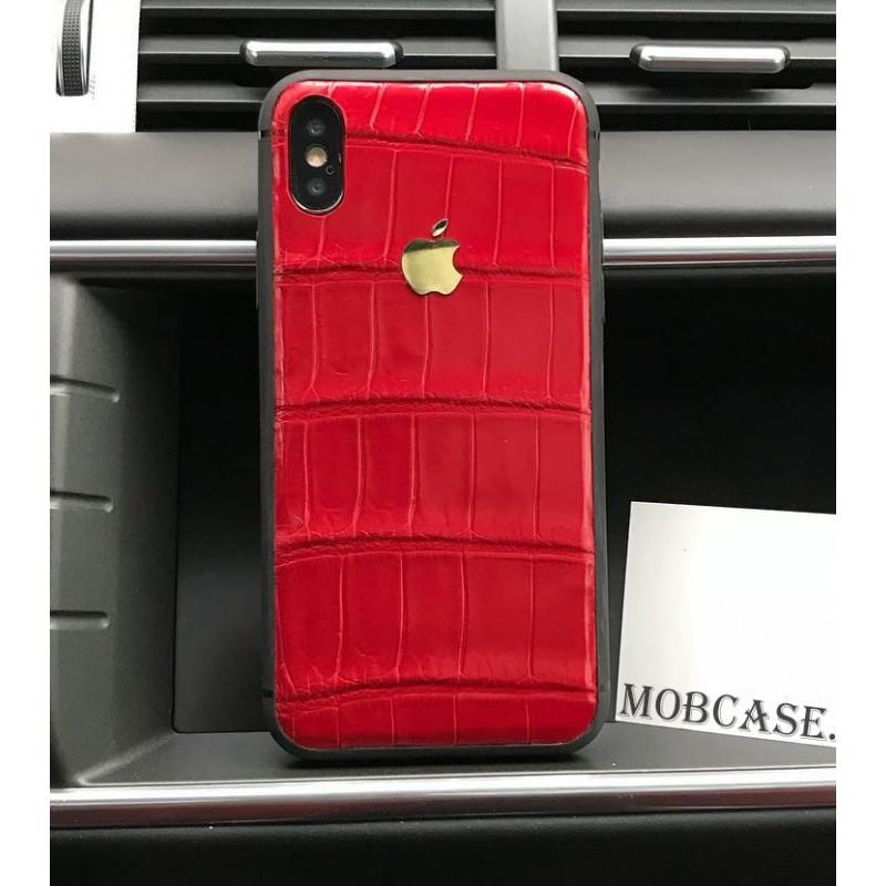 Кожаный, красный чехол из кожи крокодила с логотипом Apple Mobcase 819 для iPhone