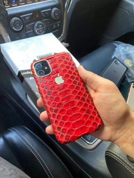 Кожаный, красный чехол с логотипом Apple Mobcase 1145