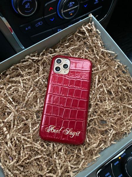 Кожаный, красный, именной чехол, Mobcase 202