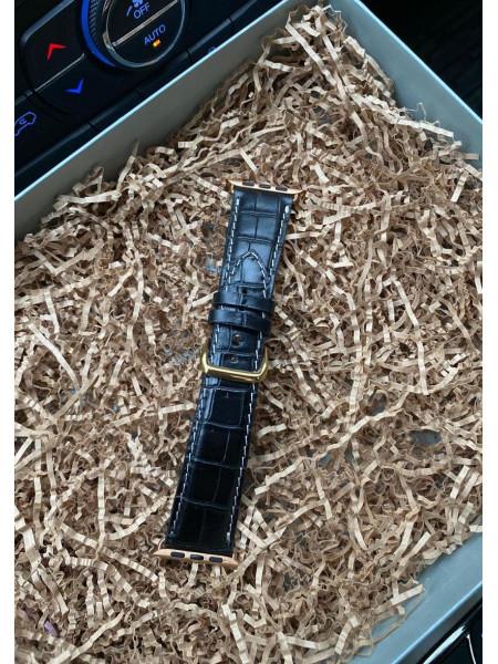Кожаный чёрный ремешок из крокодила Mobcase 201 для Apple Watch
