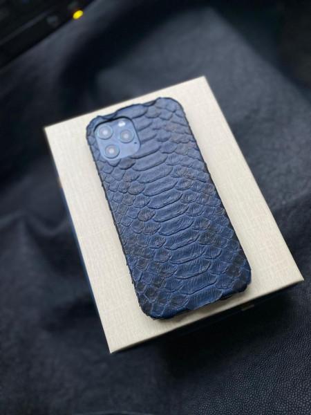 Кожаный синий чехол из кожи питона Mobcase 1326