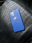 Кожаный синий чехол из кожи питона с инициалами из серебра Mobcase 1374