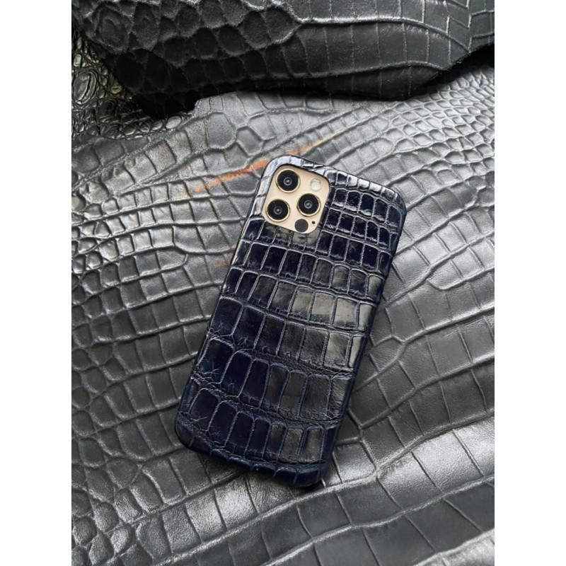Кожаный синий чехол из крокодила Mobcase 1401