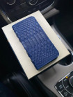 Кожаный синий чехол книжка из кожи питона Mobcase 1314