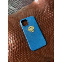 Кожаный голубой чехол с бронзовым гербом России Mobcase 1382
