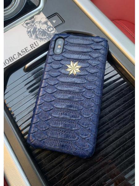 Кожаный, тёмно-синий чехол с серебряной звездой, Mobcase 738 для iPhone