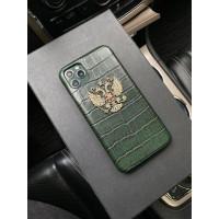 Кожаный, зелёный чехол с гербом России Mobcase 1267