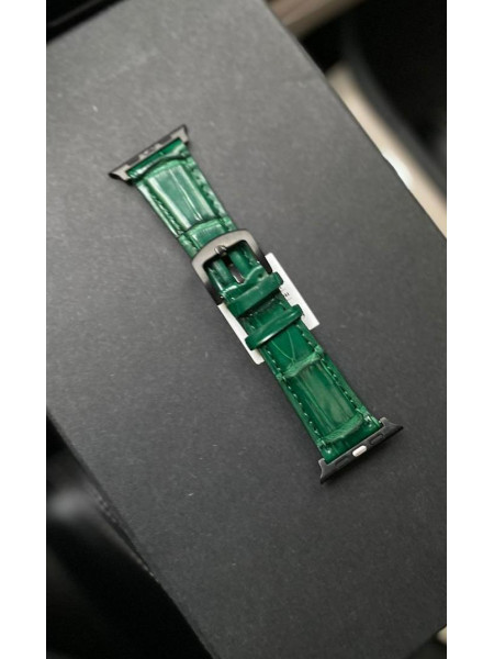 Кожаный зелёный ремешок из кожи крокодила Mobcase 1270 для Apple Watch