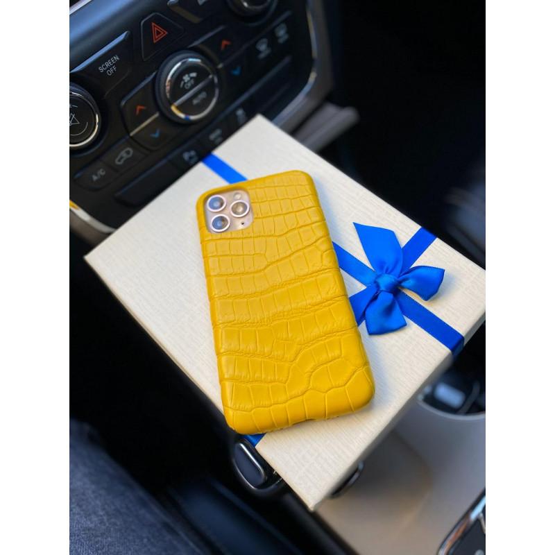 Кожаный, жёлтый чехол ручной работы, Mobcase 68
