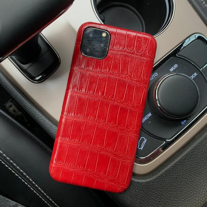 Красный чехол из натуральной, крокодиловой кожи , Mobcase 965