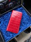 Красный чехол-книжка из натуральной кожи, Mobcase 337