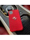 Красный чехол с инициалами из кожи питона для iPhone 11 / Pro / Max, Mobcase 954