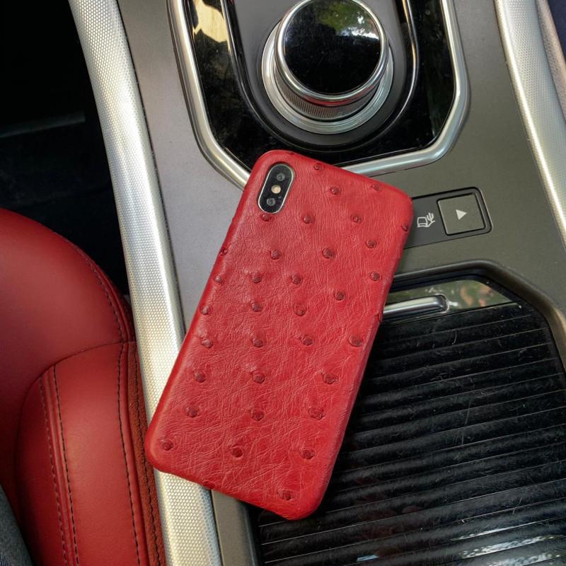 Красный, кожаный чехол из кожи страуса для iPhone XS, Mobcase 927