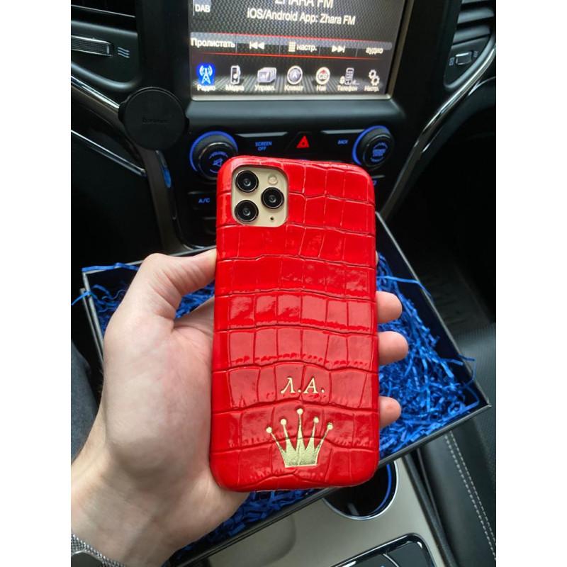 Красный, кожаный чехол с инициалами и короной, Mobcase 334