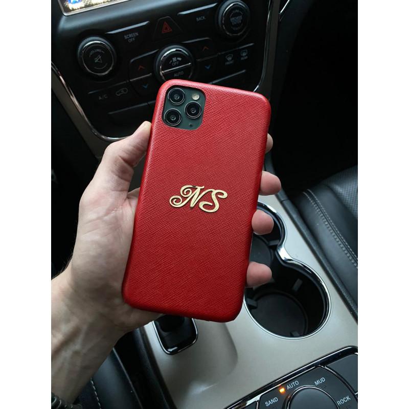 Красный кожаный чехол с инициалами N. S, Mobcase 1041