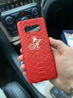 Красный, кожаный чехол с логотипом Mobcase 1060