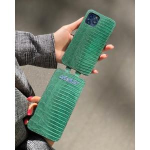 Эксклюзивный флип-кейс из зелёной кожи игуана Mobcase 1405