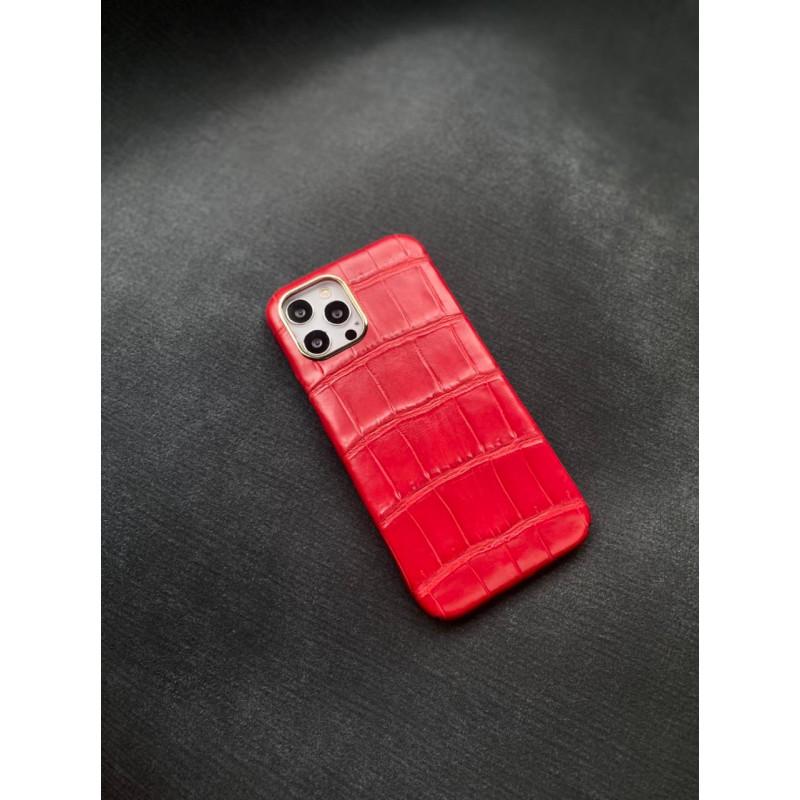 Красный кожаный чехол из крокодила Mobcase 1424