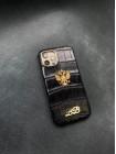Чёрный кожаный чехол из крокодила с гербом России Mobcase 1426