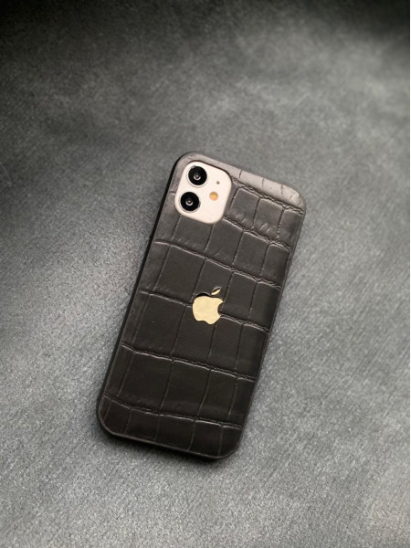 Чёрный кожаный чехол с логотипом Apple Mobcase 1427