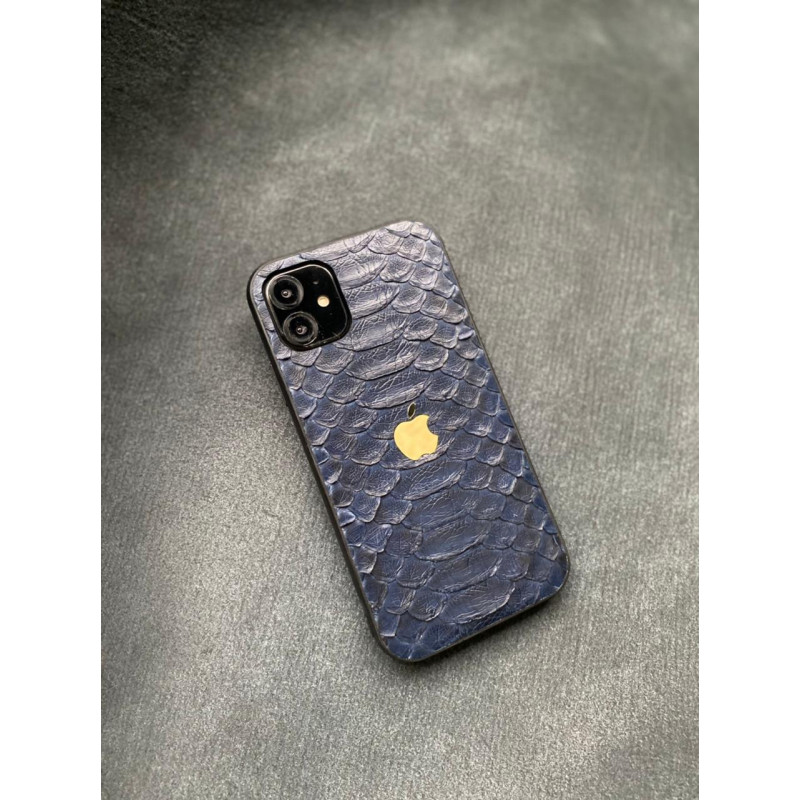 Противоударный тёмно-синий кожаный чехол с логотипом Apple Mobcase 1428