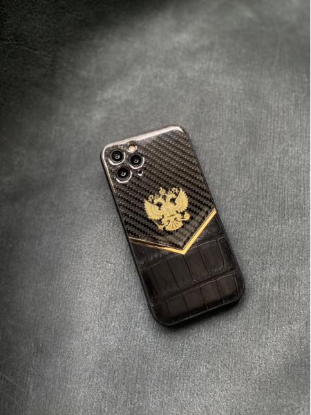 Карбоновый чёрный кожаный чехол с гербом России Mobcase 1430