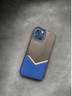 Противоударный карбоновый кожаный синий чехол Mobcase 1431